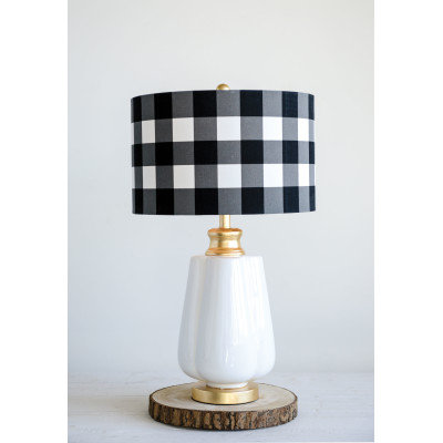 Ceramic Lamp with Black & White Gingham Linen Shade