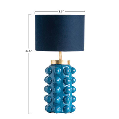 Embossed Teal Glass Table Lamp with Black Shade