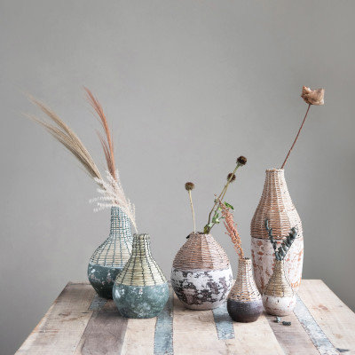 Hand-Woven Rattan & Clay Vase, Distressed White (Each One Will Vary)