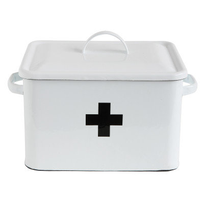 Enameled First Aid Box with Lid & Black Cross on Front