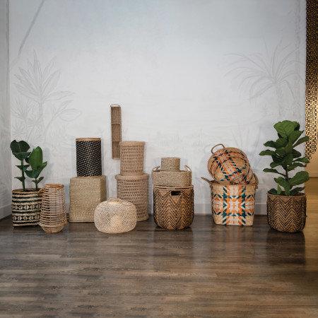 Handmade Woven Bankuan Baskets with Lids, Natural & Black, Set of 2