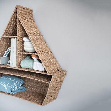 Hand-Woven Bankuan Sailboat Wall Shelf with 6 Compartments, Natural