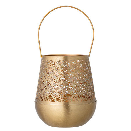 Metal Punched Lantern with Handle, Brass Finish