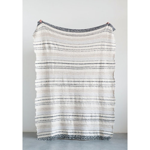Grey, Brown & Black Striped Cotton Knit Throw