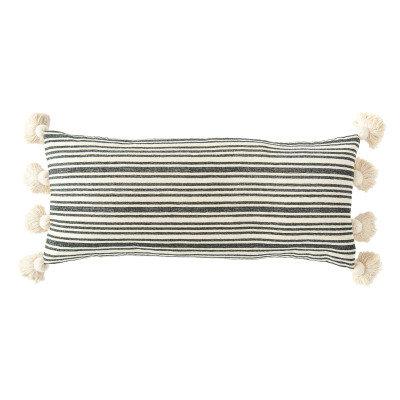Cotton & Chenille Woven Lumbar Pillow w/Raised Black Stripes & Thick Tassels