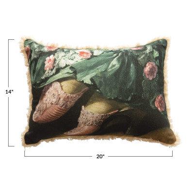 Cotton Lumbar Pillow with Vintage Shoes Image & Fringe, Multi Color