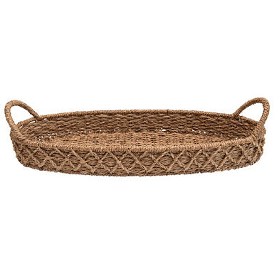 Decorative Oval Woven Seagrass Tray with Handles