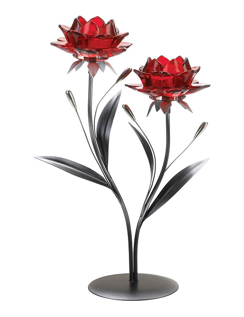 Beautiful Red Flowers Candle Holder