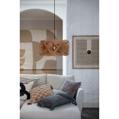 Embroidered Cotton Lumbar Pillow, Black & White