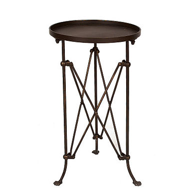 """14.25"""" Round Tray-Style Metal Accent Table"""