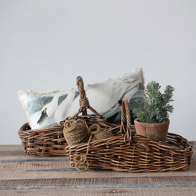 Hand-Woven Arurog Gathering Baskets with Handles, Set of 2