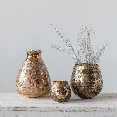 Etched Mercury Glass Vase, Gold Finish