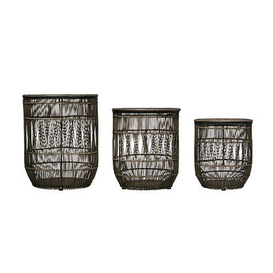 Handwoven Rattan & Metal Baskets/Accent Tables with Distressed Finish