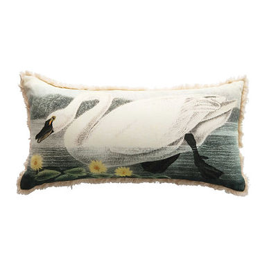 Cotton Lumbar Pillow with Vintage Reproduction Swan & Flowers Image, Multi Color