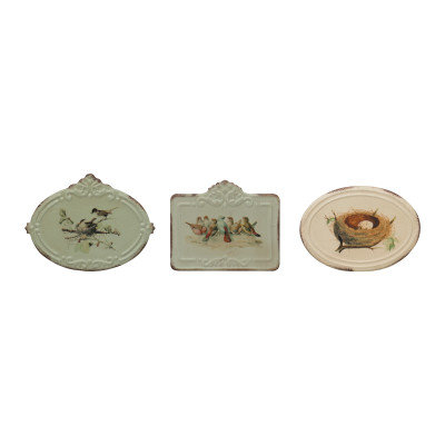 Decorative Metal Boxes with Attached Lids & Bird Images (Set of 3 Designs)