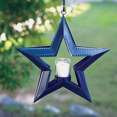 5 Point Hanging Star Votive Holder - Blue