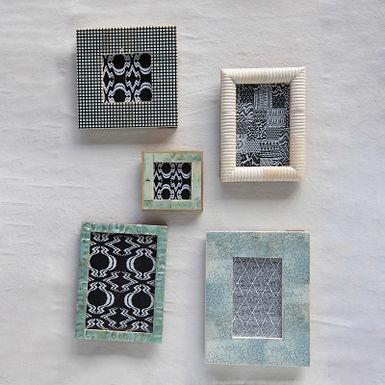 "Handmade Mother of Pearl & MDF Photo Frame, Aqua (Holds 5"" x 7"" Photo)"