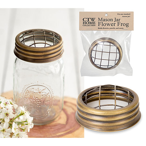 Mason Jar Flower Frog Lid - Antique Brass - Box of 6