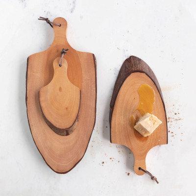 Mahogany Wood Cheese/Cutting Boards w/ Raw Edge & Handles, qty 3 (Each Vary)