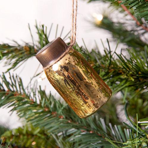 Glass Mini Mason Jar Hanging Christmas Ornament - Mercury Gold - Box of 6