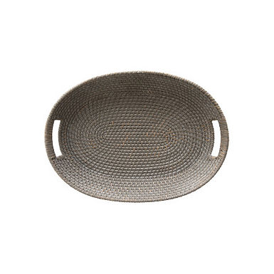 Decorative Hand-Woven Rattan and Palm Gray Wash Tray with Handles