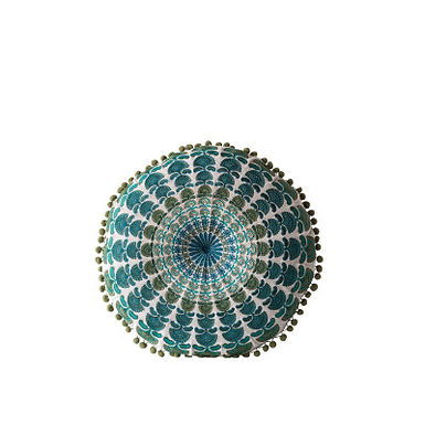 Blue & Green Round Cotton Chambray Pillow with Pom Poms