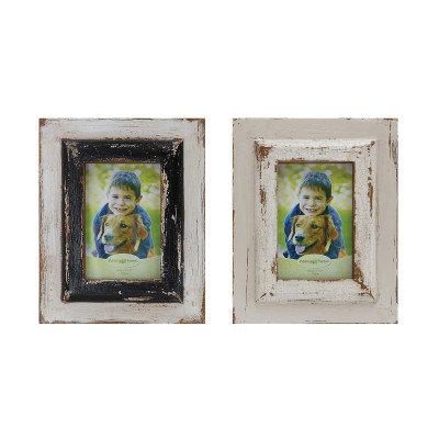 Distressed Black & White Wood Photo Frames (Set of 2 Designs)