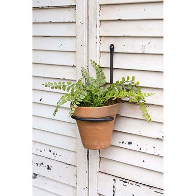 Forged Plant Hanger with Terra Cotta Pot