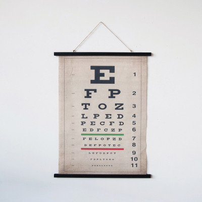 Canvas & Wood Eye Chart Scroll Wall Decor with Jute Rope Hanger