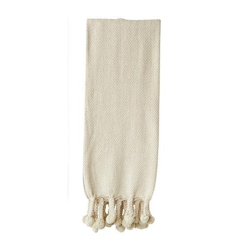 Cream Cotton Throw with Pom Poms