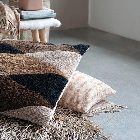Cotton Blend Tie-Dyed Pillow, Brown & Beige