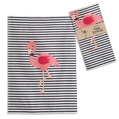 Flamingo Striped Tea Towel - Box of 4