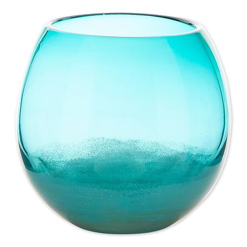 Large Aqua Fish Bowl Vase