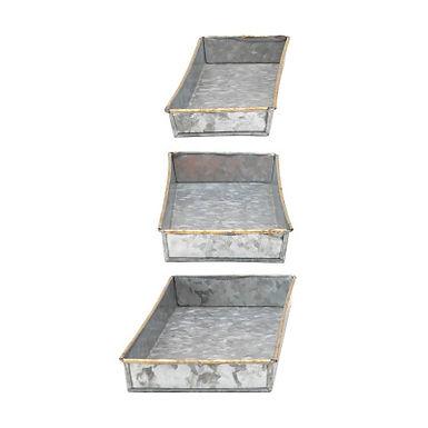 Decorative Galvanized Metal Trays, Set of 3