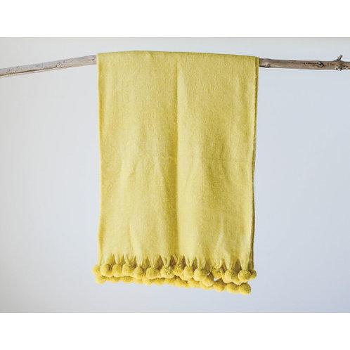 Marigold Yellow Acrylic Throw with Pom Poms