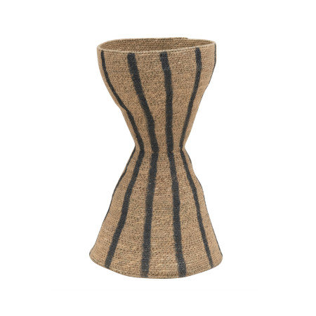 Hand-Woven Seagrass Hour Glass Shape Vase with Stripes, Natural & Black
