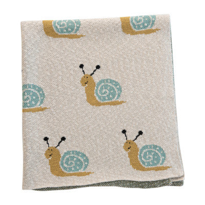 Cotton Knit Baby Blanket with Snails, Cream Color