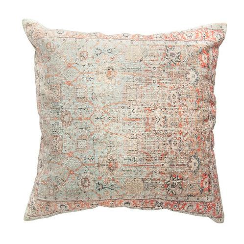 Heavily Distressed Multicolor Print Square Cotton Pillow