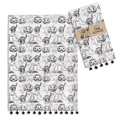 Halloween Pattern Tea Towel - Box of 4