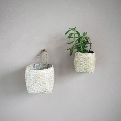 Hand-Woven Seagrass Wall Baskets w/ Handles, Whitewashed, qty 2 (Hangs or Sits)