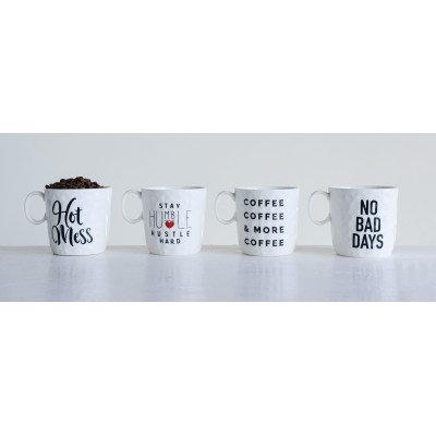 """Hot Mess"", ""No Bad Days"" and More Stoneware Mugs (Set of 4 Designs/Sayings)"