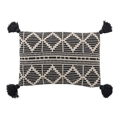 Black and Beige Woven Recycled Cotton Blend Lumbar Pillow with Tassels