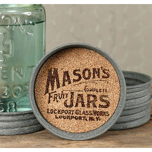 Mason Jar Lid Coaster - Mason Jar Logo - Box of 4