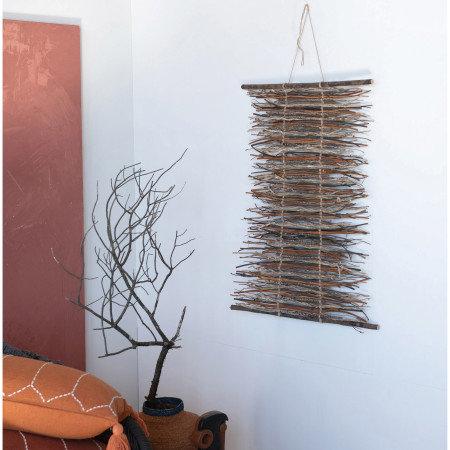 Hand-Woven Seagrass Basket, Orange & Navy