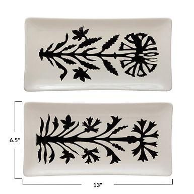 "13""L x 6-1/2""W Stoneware Platter w/ Flower, White & Black, 2 Styles"