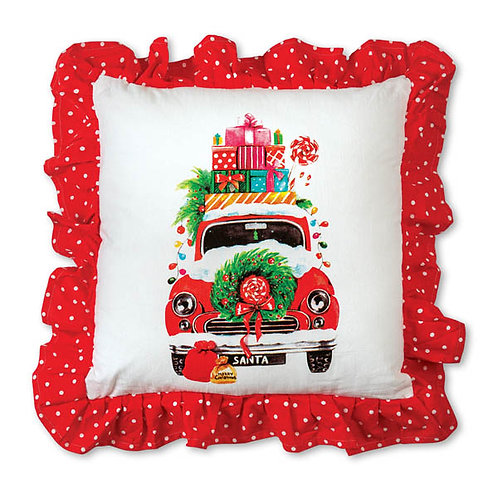 Christmas Car Cotton Throw Pillow