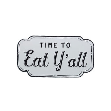 "15.75""W Embossed ""Time to Eat Y'all"" Enameled Metal Wall Decor"