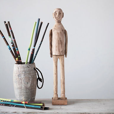 Hand-Carved Mango Wood Standing Figure (Each One Will Vary)