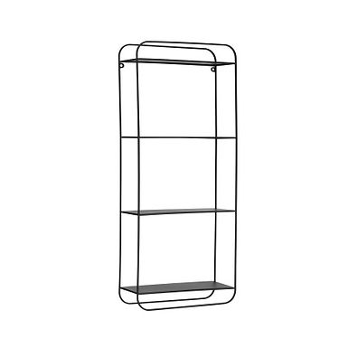 """27.5""""H Metal 4-Tier Wall Shelf with Open Back & Hanging Rod"""
