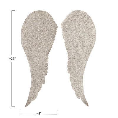 Handmade Recycled Fabric Angel Wings Wall Decor w/Glass Beads, Cream Color